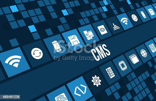 CMS concept image with technology icons and copyspace