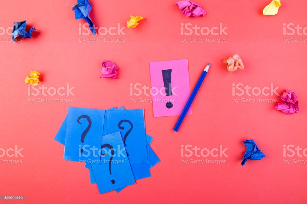 Concept in search ideas. Creased paper of idea. Falt lay stock photo