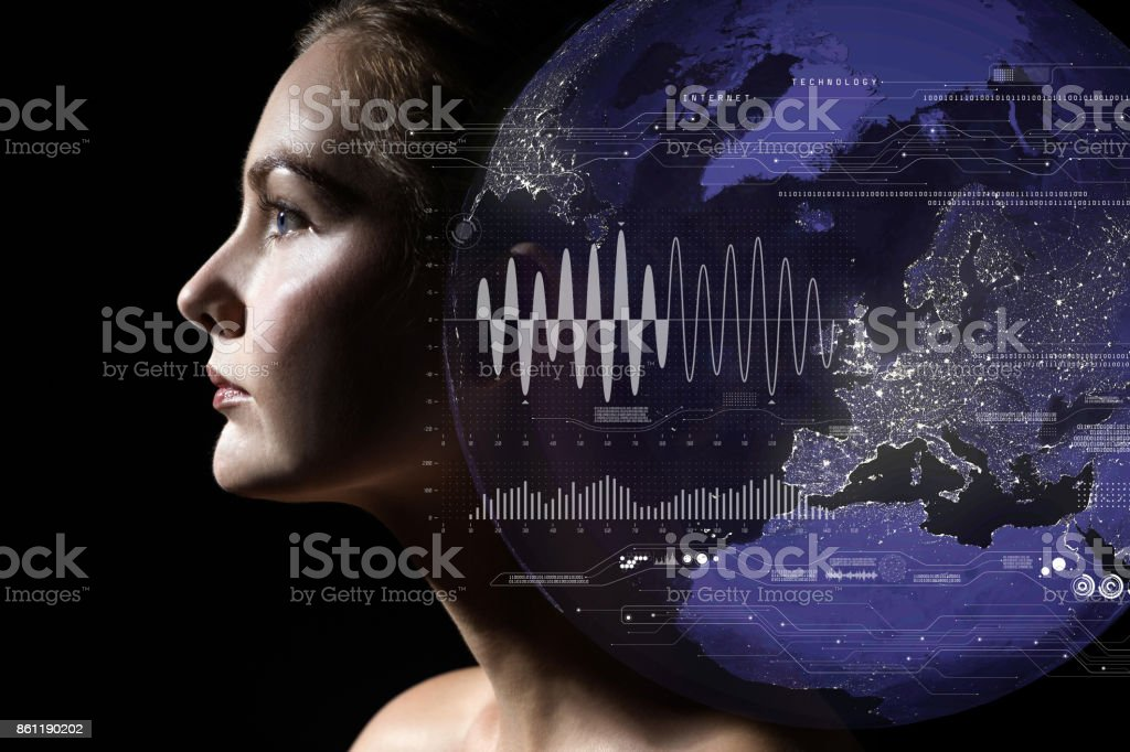 AI(Artificial Intelligence) concept. Internet of Things and big data. stock photo