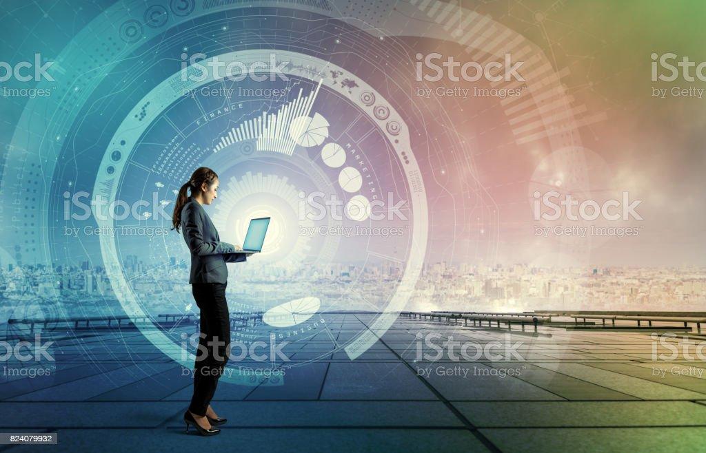 Concept de TIC (technologies de l'Information Communication). IoT (Internet des objets). Smart City. Transport numérique. Résumé technique mixte. - Photo