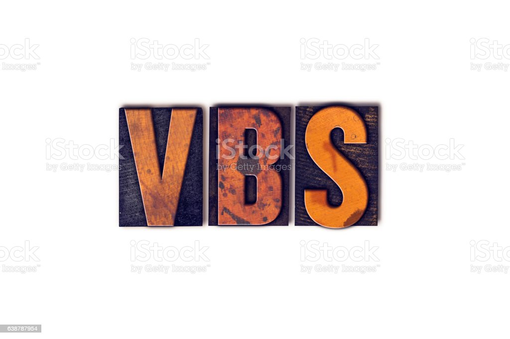 VBS Concept Isolated Letterpress Type stock photo