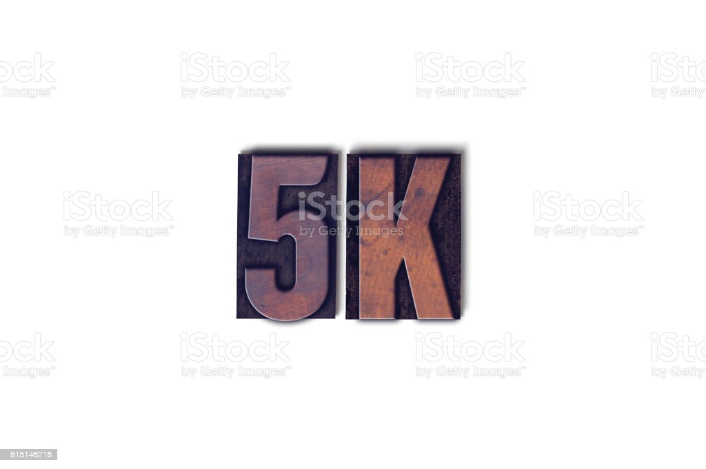 5K Concept Isolated Letterpress Word stock photo