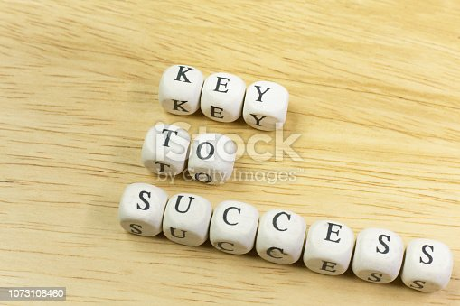 istock concept key to success on  wood cube for background. 1073106460