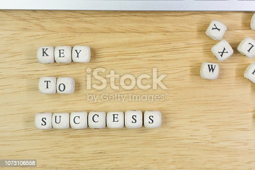 istock concept key to success on  wood cube for background. 1073106558