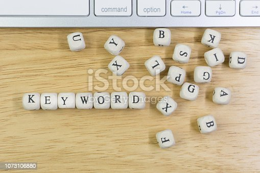 istock concept Keyword on  wood cube for background. 1073106880