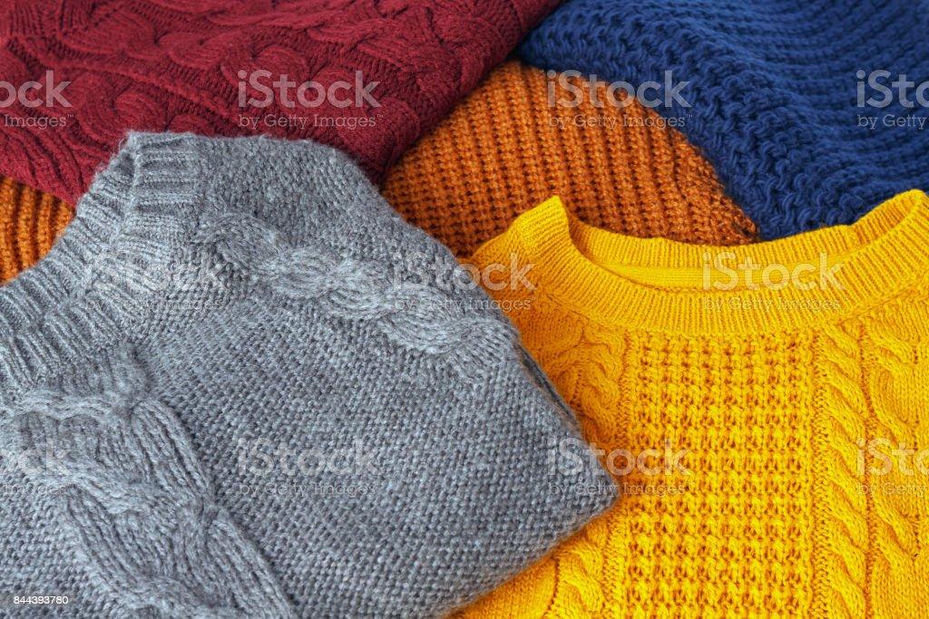 Concept de tricot de laine colorée chandails chaud closeup - Photo