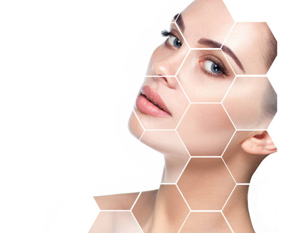 concept lifting skin face and plastic surgery beautiful face woman with holographic honeycomb in face. Future concept of lifting skin effect and plastic surgery. beautiful woman stock pictures, royalty-free photos & images