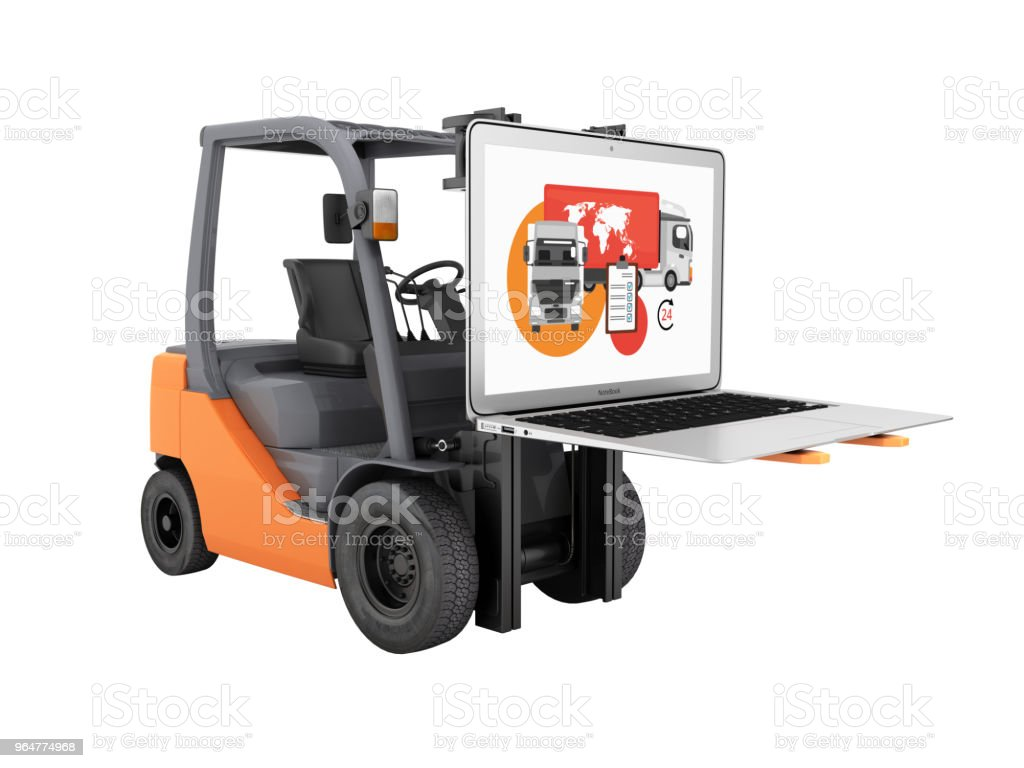 Concept logistics of loading and delivery The forklift lifts the laptop isolated on white background 3d without shadow royalty-free stock photo
