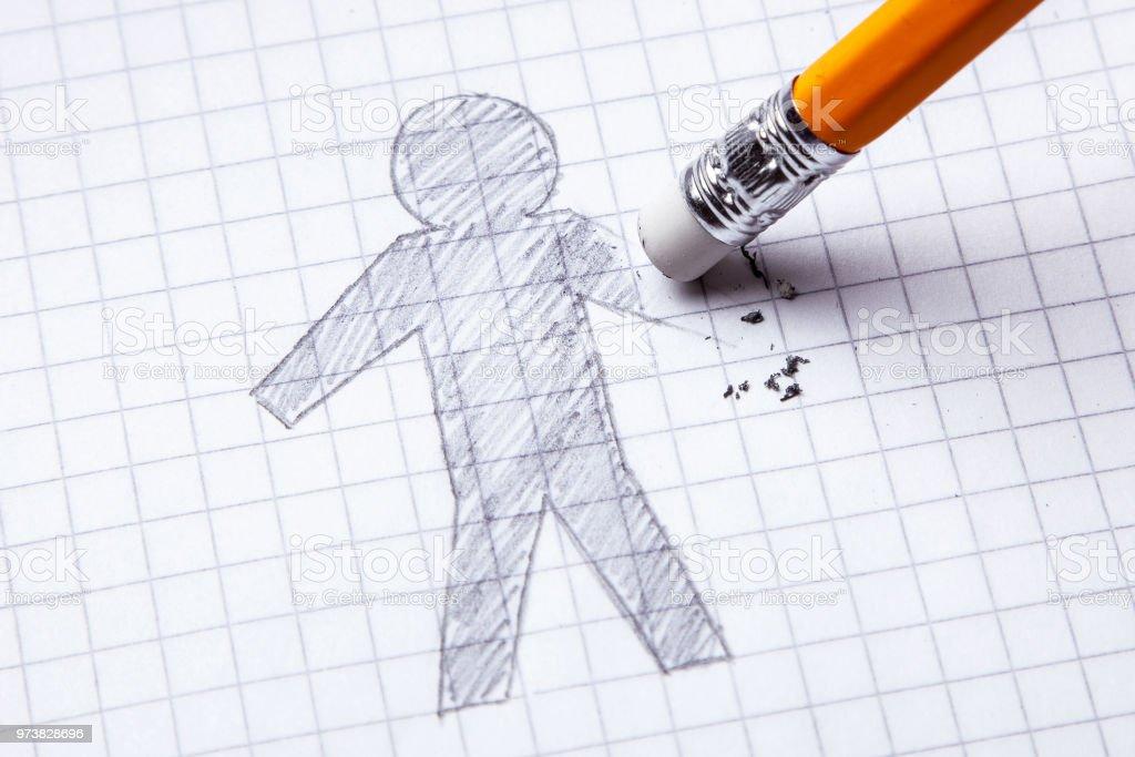 Konzept. Verlust der Hände, Amputation. Zeichnen mit Bleistift der Mann mit einem gelöschten hand – Foto