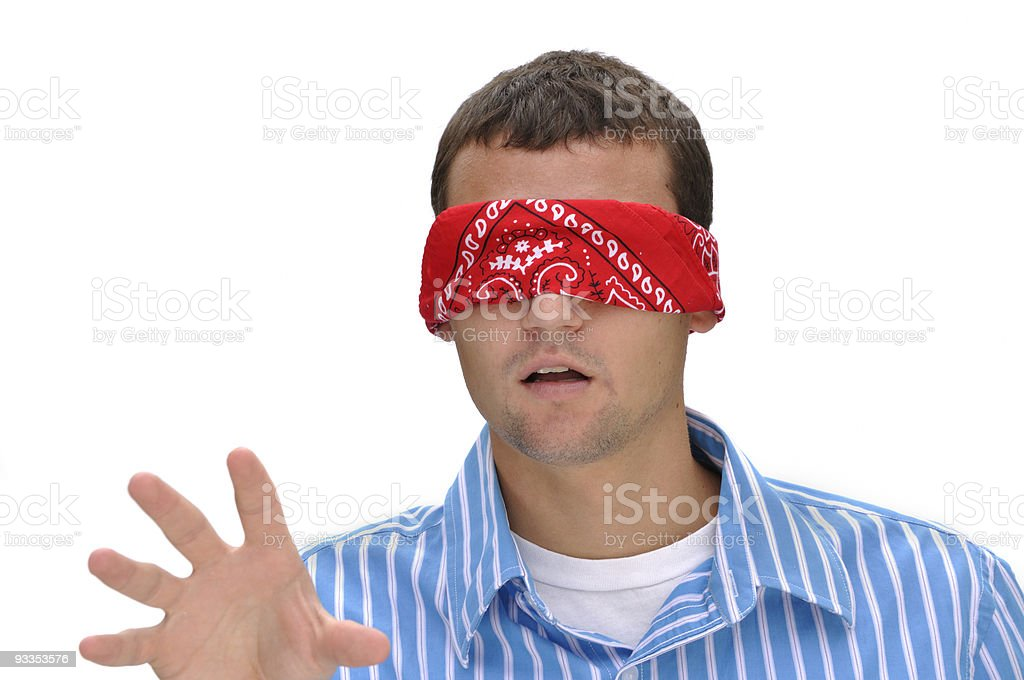 Concept: Lost - Blindfold Man Reaching Out stock photo