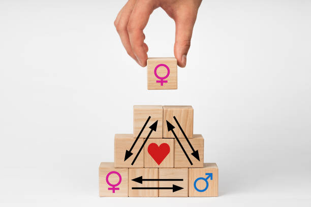 Concept Love triangle with a picture of a male and female symbol stock photo