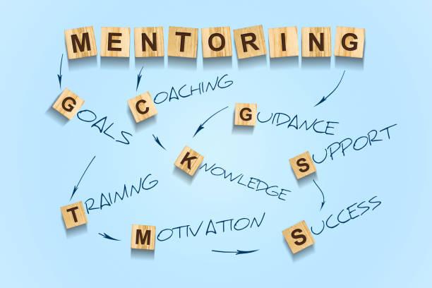 konzept mentoring. worte auf einem holzblock geschrieben. blauer hintergrund. business. führung - ausbilder stock-fotos und bilder