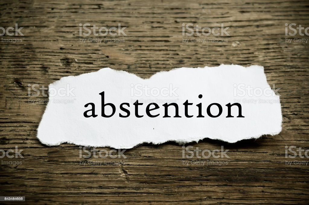 Concept  message on paper - abstention stock photo