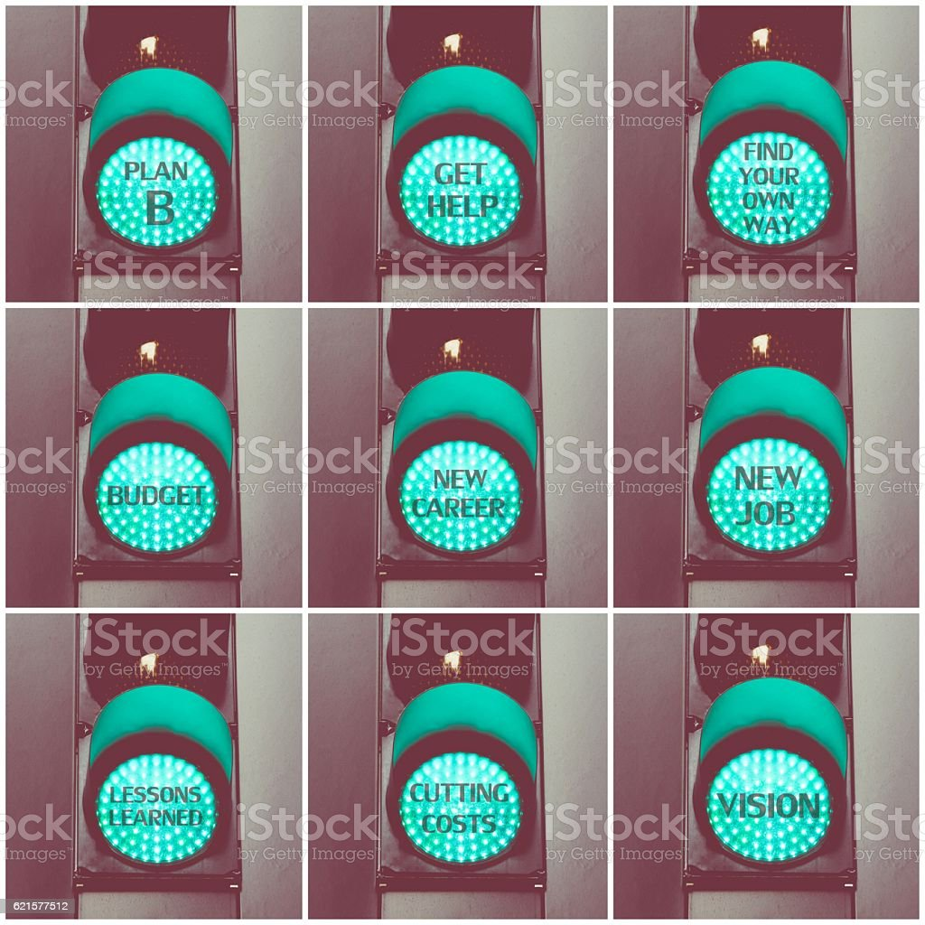 Concept messages written over green traffic lights photo libre de droits