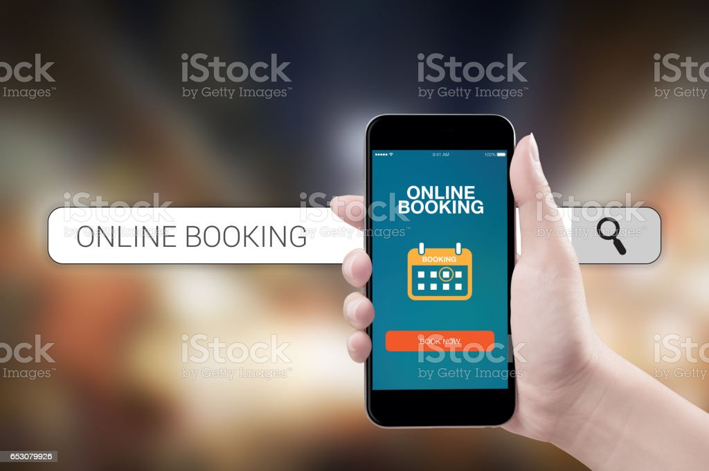Concept mobile online booking stock photo