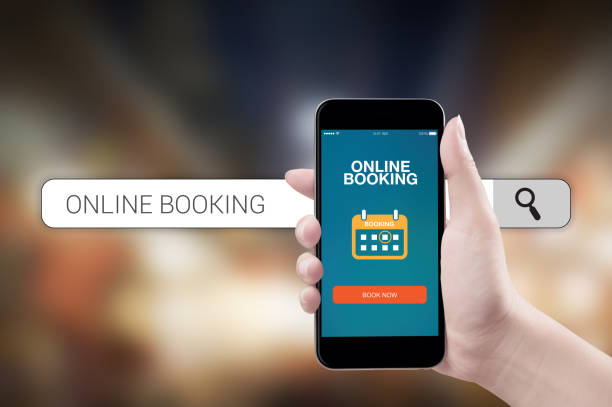 Concept mobile online booking - foto stock