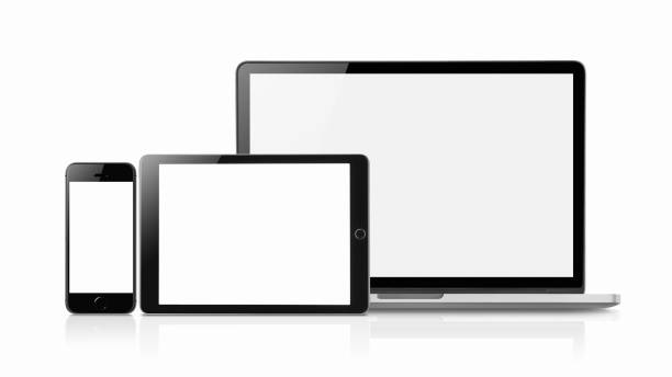 Concept mockup. Laptop, Smartphone and tablet mockup with blank screen isolated on white background, Concept mockup. Copyspace for text. desktop pc stock pictures, royalty-free photos & images