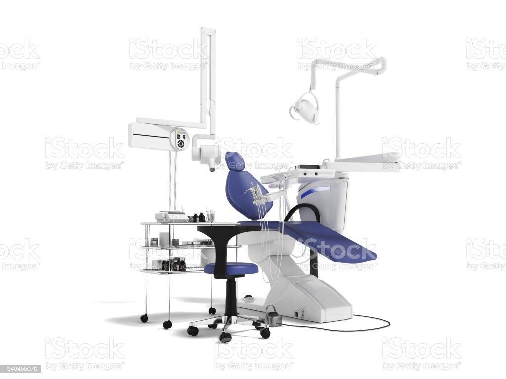 Concept modern dental equipment for dental treatment with a bedside table with a stool 3d render on a white background with a shadow stock photo