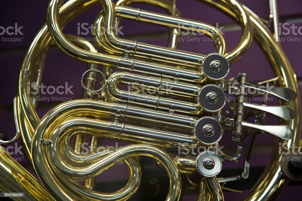 Concept music closeup french horn stock photo