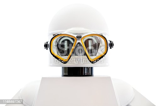 concept naval or marine diving robot isolated in front of white background