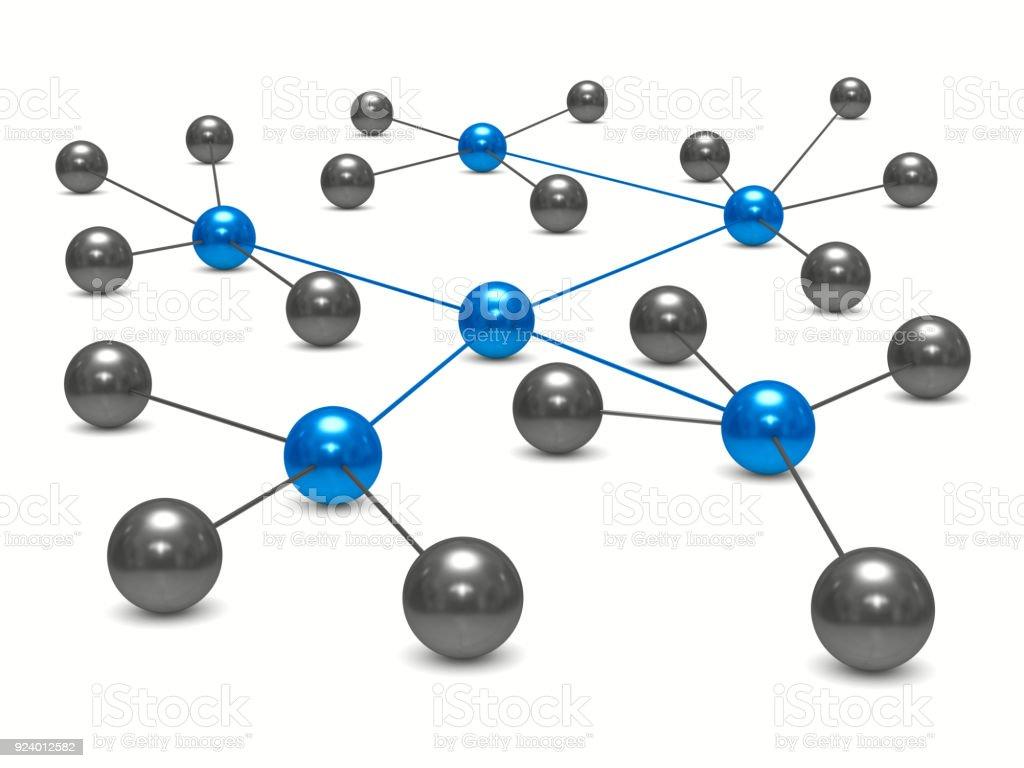 Konzept-Netzwerk auf weißem Hintergrund. Isolierte 3D-Illustration – Foto