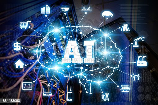 istock AI(Artificial Intelligence)  concept. Network server and various industries. 864483080