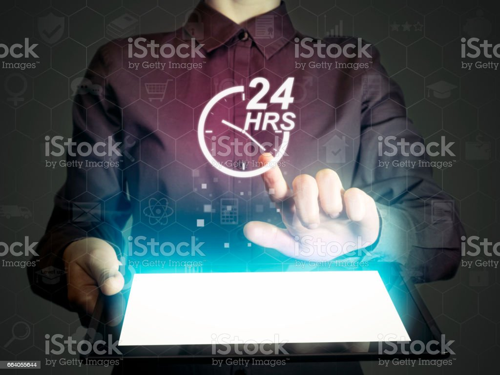 Concept of 24-hour support stock photo