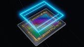 Full-frame sensor for digital camera and analogue film concept, 3D rendering