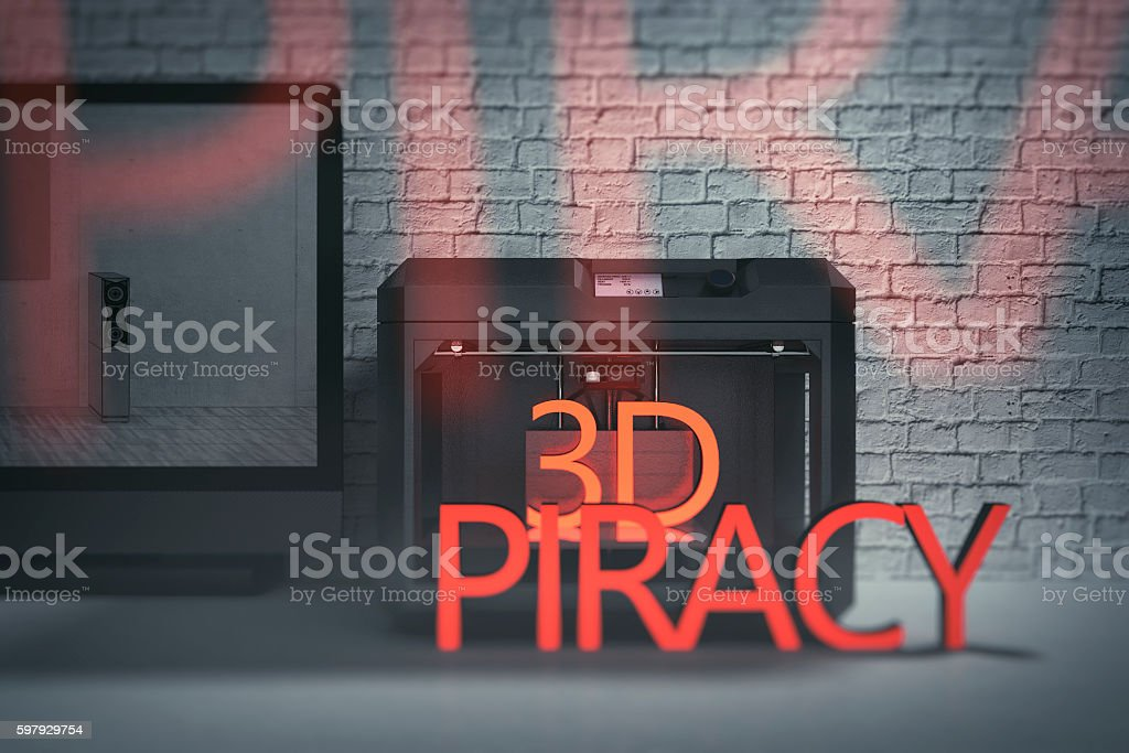 Concept of 3D printing and design piracy stock photo