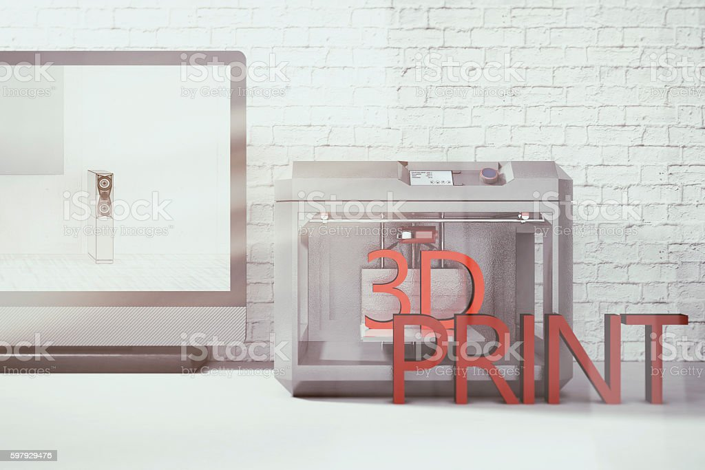 Concept of 3D printing stock photo