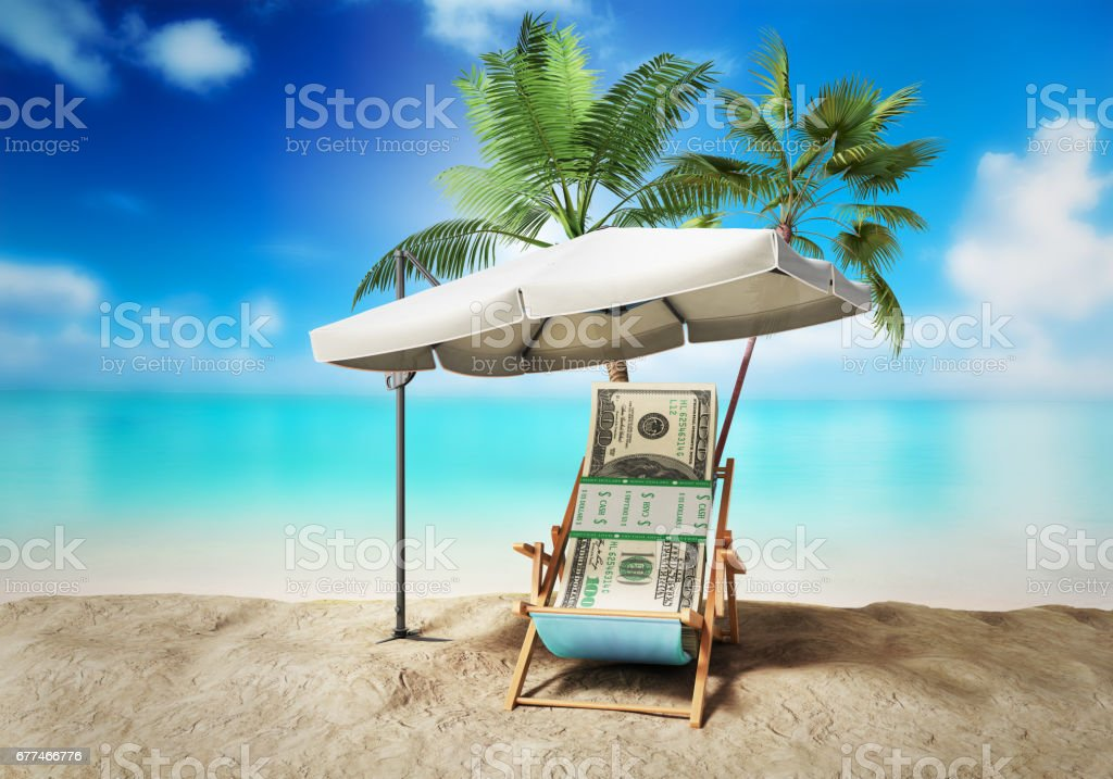 Concept of a credit vacation Concept travel One hundred dollar stock photo