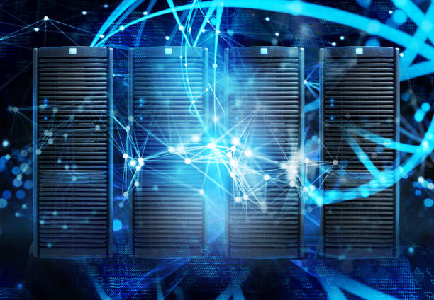 Concept of a data center room with database server and network effects - foto stock