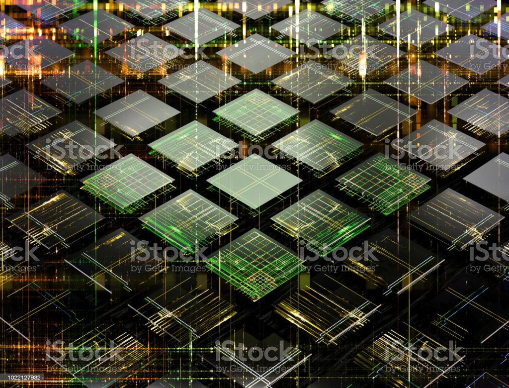 Concept of a fututistic quantum computer made of small cells royalty-free stock photo