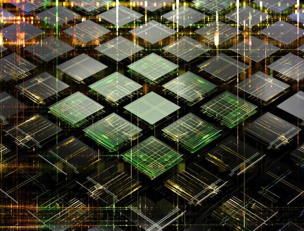 konzept eines quantencomputers fututistic machte der kleine zellen - quant stock-fotos und bilder