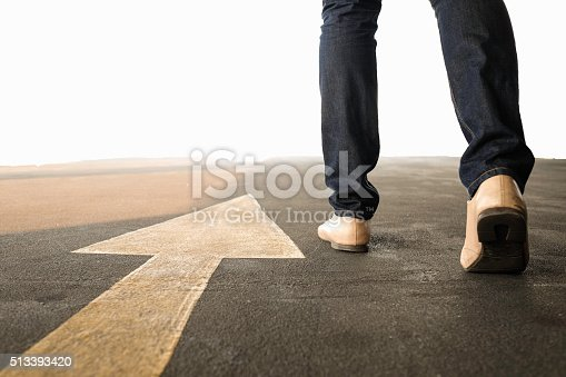 677206912 istock photo Concept of a man follows the right way 513393420