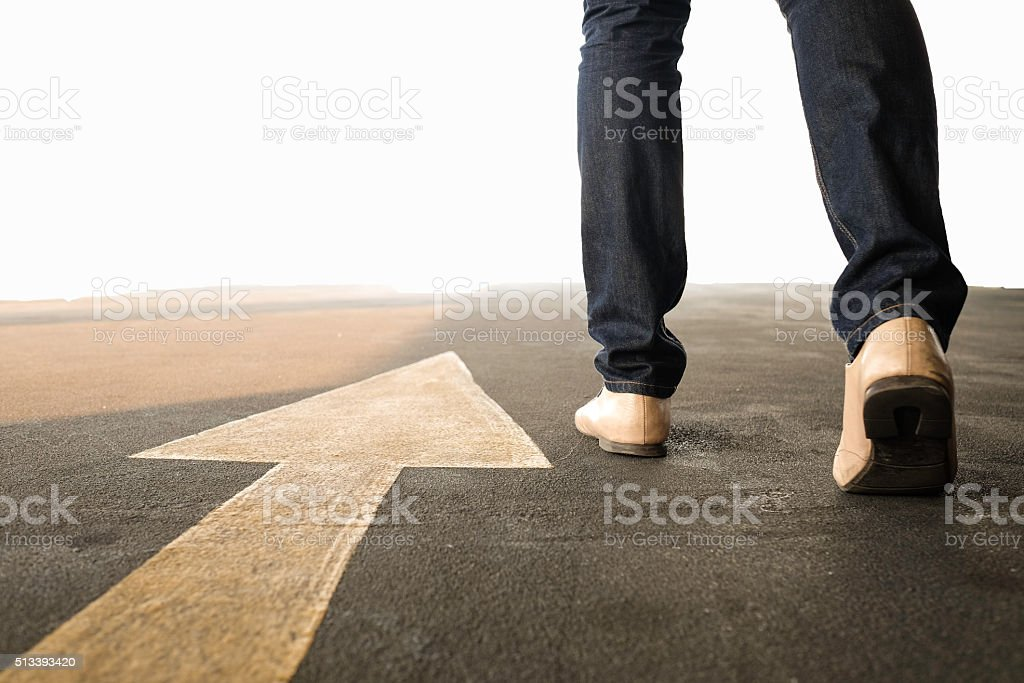 Concept of a man follows the right way stock photo