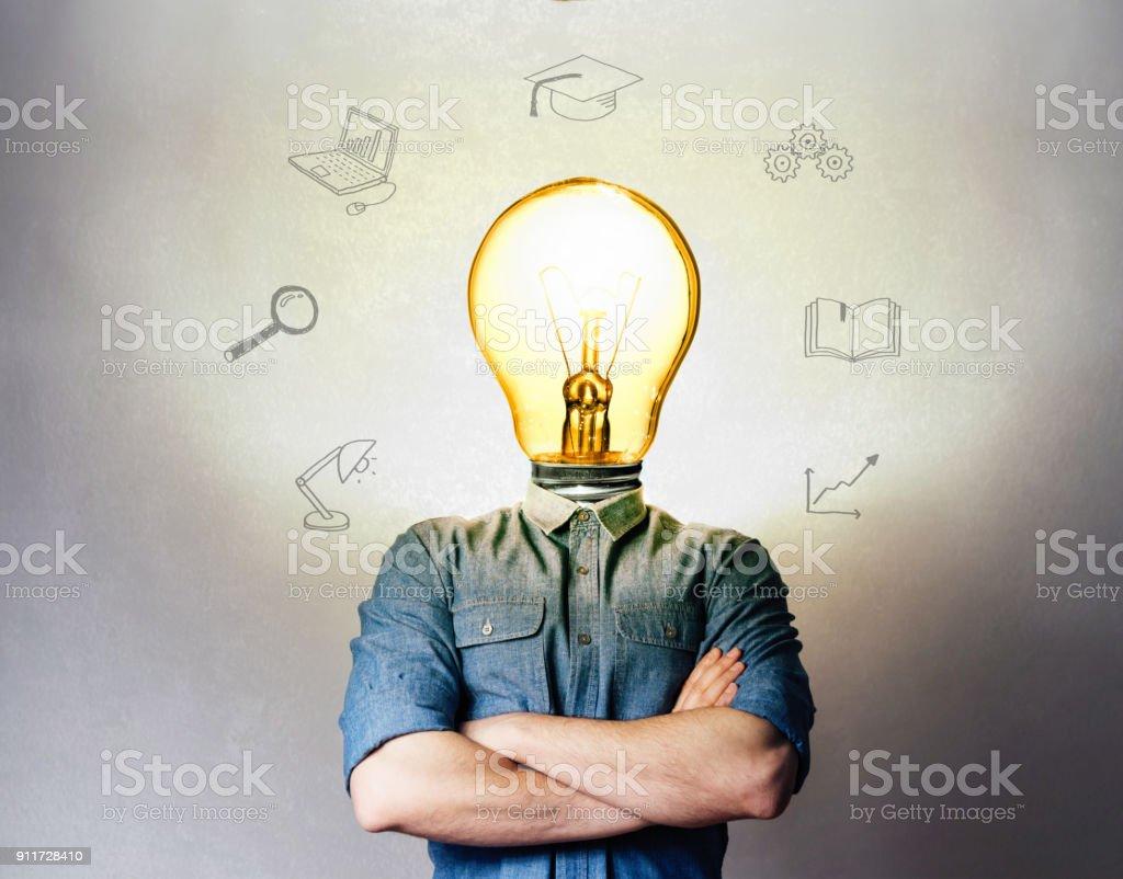 Concept of a new idea. stock photo