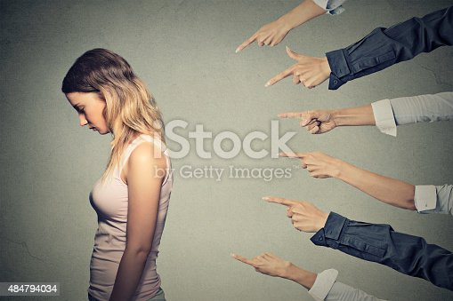 istock Concept of accusation guilty person girl 484794034