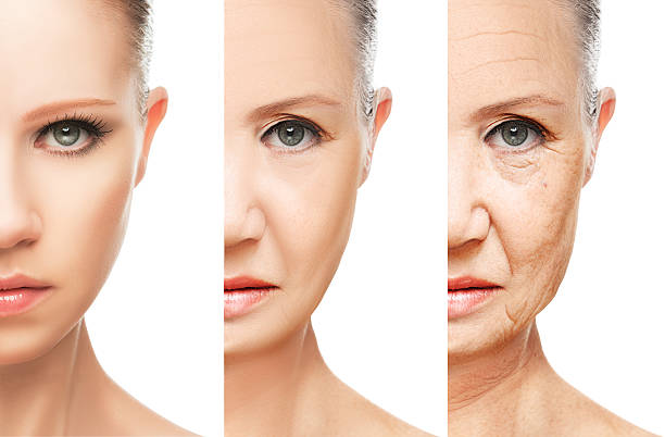 concept of aging and skin care isolated stock photo
