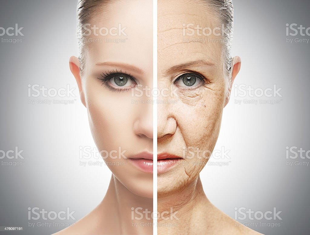 concept of aging and skin care concept of aging and skin care. face of young woman and an old woman with wrinkles Human Face Stock Photo