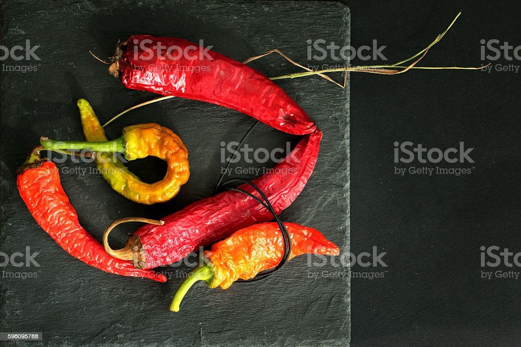 Concept of aging - dry colored chili peppers royalty-free stock photo