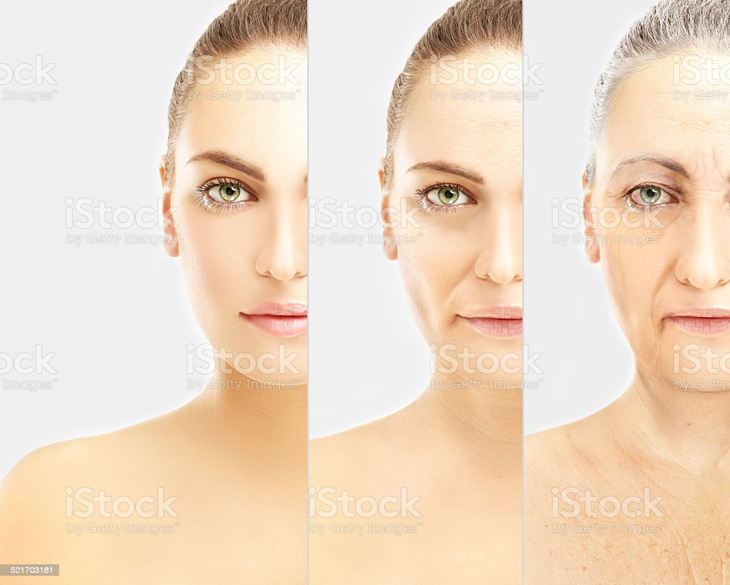 Concept of aging . Young girl and woman with wrinkles stock photo