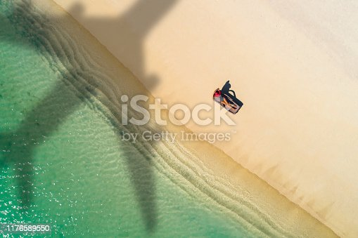 1058205304 istock photo Concept of airplane travel to exotic destination with shadow of commercial airplane flying above beautiful tropical beach. Beach holidays and travel. 1176589550