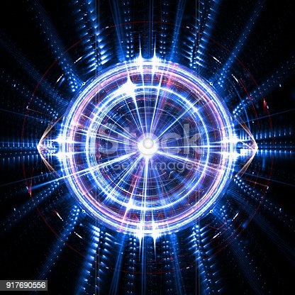 istock Concept of an artificial quantum intelligence with an electronic eye and waves 917690556