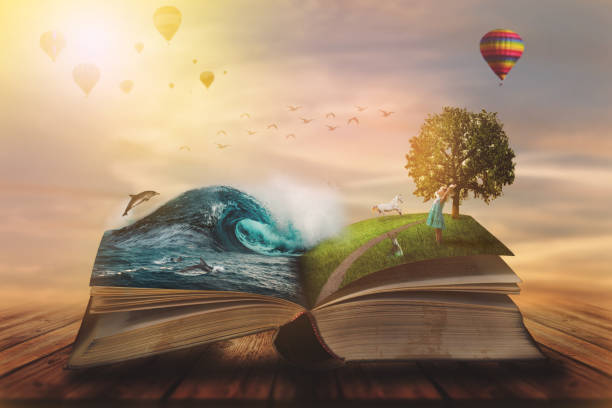 Concept of an open magic book; open pages with water and land and small child. Fantasy, nature or learning concept, with copy space Concept of an open magic book; open pages with water and land and small child. Fantasy, nature or learning concept, with copy space fairy tale stock pictures, royalty-free photos & images