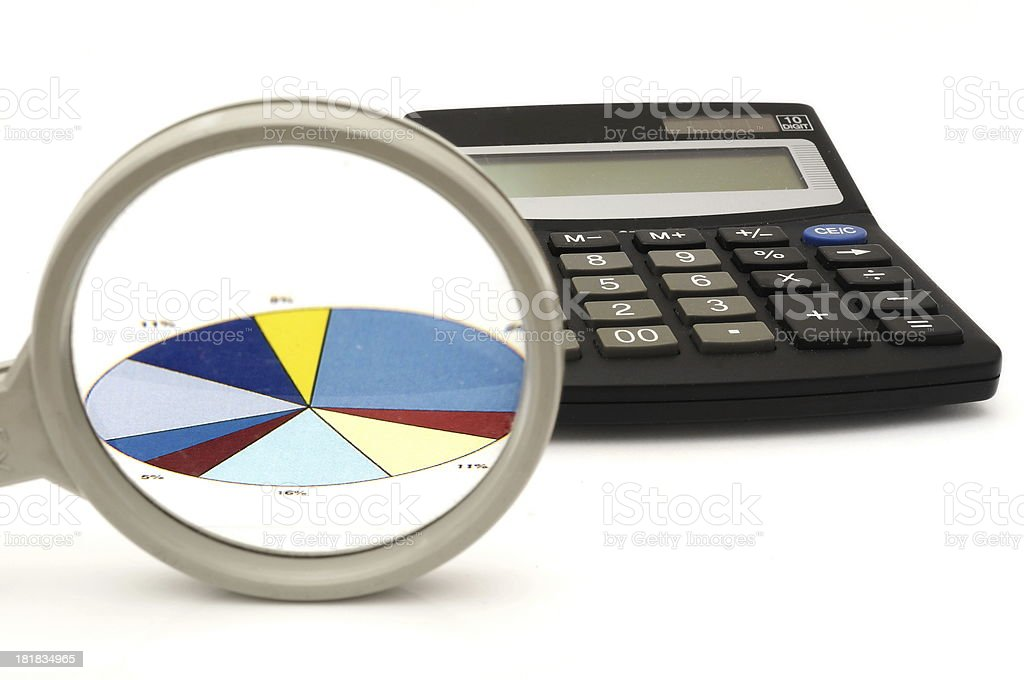 concept of analyzing in office with magnifier,calculator,graph royalty-free stock photo