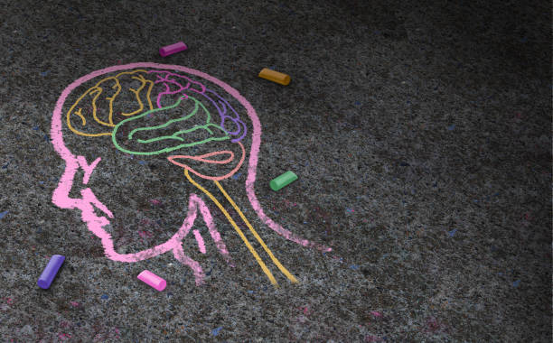 Concept Of Autism Concept of autism and autistic development disorder as a symbol of a communication and social behavior psychology as a chalk drawing on asphalt in a 3D illustration style. autism stock pictures, royalty-free photos & images