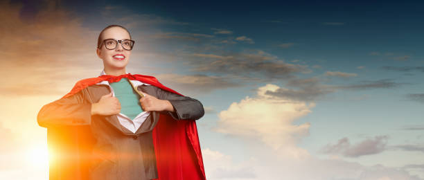 Concept of be super in business . Mixed media stock photo