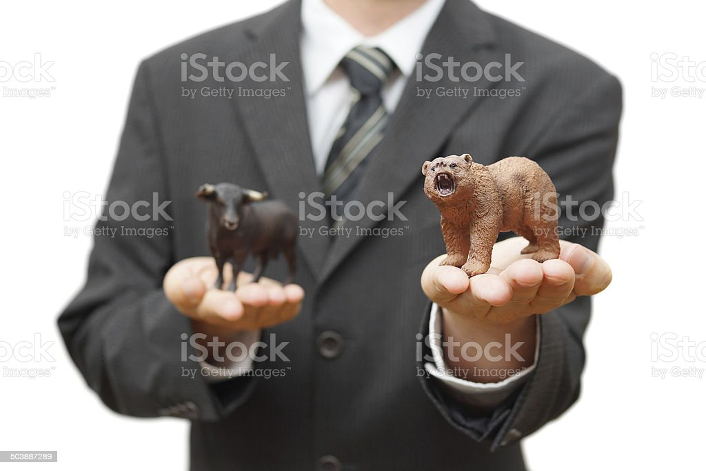 concept of bear stock market.  recession time stock photo