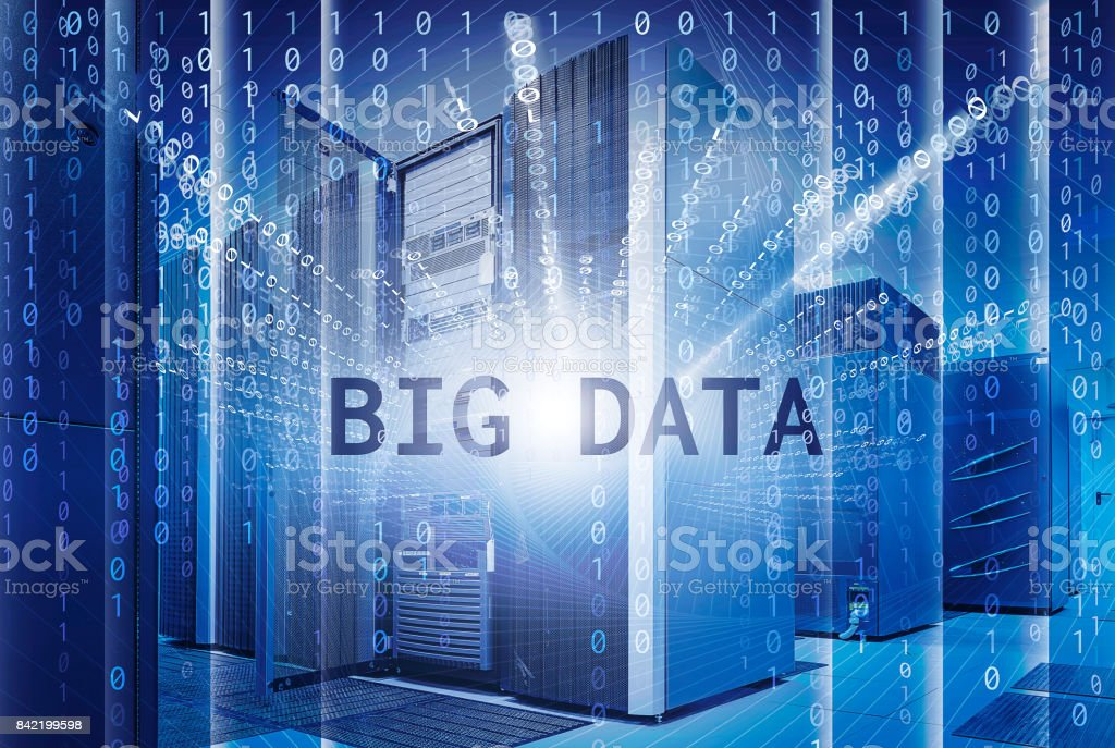 concept of big data visualization with ranks modern supercomputers in computational data center stock photo